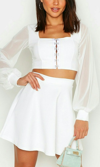 Dresses & Skirts - NWT Fit And Flare Ivory Skirt US Size 2  UK 6